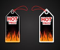 Hot price labels with fire flame Royalty Free Stock Photography