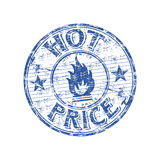 Hot price rubber stamp. Blue grunge rubber stamp with fire symbol and the text hot price written inside the stamp Stock Images