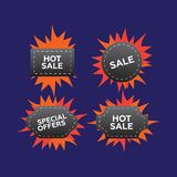 Hot price and sale, deal and offer, special tag or badge. Hot pr Royalty Free Stock Photos
