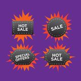 Hot price and sale, deal and offer, special tag or badge. Hot pr Stock Image