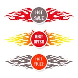 Hot sale text labels flame design. Hot price sale offer text labels flame design Stock Photos