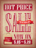 Hot price sale poster. Retro hot price sale marketing poster template Stock Photo