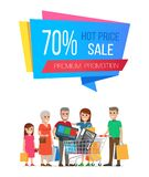 Hot Price Sale Premium Promotion Poster 70 Off. Promo label on banner with people on shopping, family mother, father and grandparents buying goods vector stock illustration