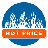 Hot price sale text label with flames. Hot price sale text label with white flames Stock Images