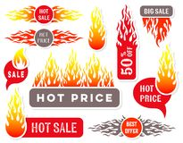 Hot price sale text labels flame design. Hot price sale text labels fire flame design Royalty Free Stock Photos