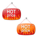 Hot price signs. Two hot price signs eps10 royalty free illustration