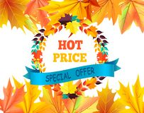 Hot Price Special Offer with Round Frame of Leaves. Hot price special offer with round frame made of color leaves, text on blue ribbon and fall foliage in the up Stock Photography