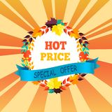 Hot Price Special Offer with Round Frame of Leaves. Hot price special offer with round frame made of color leaves, text on blue ribbon and fall foliage of vector Royalty Free Stock Photography