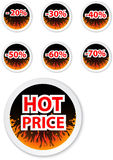 Hot price stickers. with fire flame Royalty Free Stock Photo