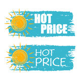 Hot price with yellow sun sign, blue drawn labels Royalty Free Stock Images