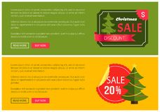 Hot Prices Christmas Sale 20 Buy Now Posters. Hot prices Christmas sale buy now posters vector illustration with promotion text, red sticker and ribbon Stock Photo