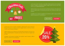 Hot Prices Christmas Sale 20 Buy Now Posters. Vector illustration with promotion text, red sticker and ribbon, Christmas tree with toys push-buttons Stock Photos