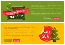 Hot Prices Christmas Sale 20 Buy Now Posters. Hot prices Christmas sale buy now posters vector illustration with promotion text, red sticker and ribbon Stock Photos