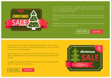 Hot Prices Christmas Sale 20 Buy Now Posters. Hot prices Christmas sale buy now posters vector illustration with promotion text, red sticker and ribbon Stock Images