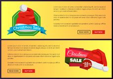Hot Prices Christmas Sale Web Banners Push Buttons. Hot prices Christmas sale web banners with push buttons, Santa Claus hat on labels vector illustration advert Stock Images