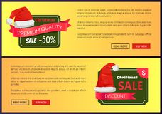 Hot Prices Christmas Sale Web Banners Push Buttons. Hot prices Christmas sale web banners with push buttons, Santa Claus hat on labels vector illustration advert Stock Photography