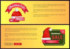 Hot Prices Christmas Sale Web Banners Push Buttons. Hot prices Christmas sale web banners with push buttons, Santa Claus hat on labels vector illustration advert Stock Photo
