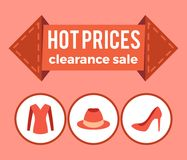 Hot Prices Clearance Sale Promo Advert on Arrow. Sweater hat and stiletto shoes icons circles flat design poster in red color, info about low cost Stock Photos