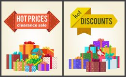 Hot Prices Discounts Clearance Sale Arrow Labels Stock Photos