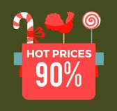 Hot prices 90 final sale poster with sweet candy sticks. Cock lollipop and round bonbon vector promo banner confectionary objects isolated on green Stock Image