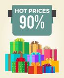 Hot Prices 90 Off Total Final Sale Discouts Label. Hot prices 90 off total final sale discounts promo label percent sign on banner with piles of present boxes in Stock Image