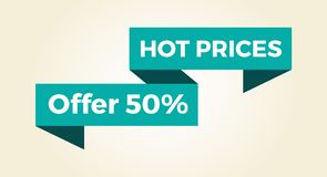 Hot Prices 50 Offer Icon Vector Illustration. Hot prices 50 offer icon with light blue sign  on white background. Vector illustration with half price off sale Royalty Free Stock Photography