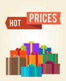 Hot Prices Reduction Clearance Sale Labels Ribbon Stock Photography