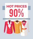 Hot Prices 90 Sale Special Offer Label Discount. Hot prices 90 total sale special offer label discount tag with jackets on hangers, vector emblem advertisement stock illustration