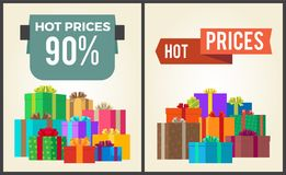 Hot Prices Total Final Sale Discounts Promo Labels. Hot prices total final sale discounts -90 off promo labels percent signs on banners with piles of present Stock Image