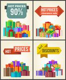 Hot Prices Total Final Sale Discounts Promo Labels. Percent off signs on banners with piles of present boxes in decorative wrapping paper vector set Royalty Free Stock Image
