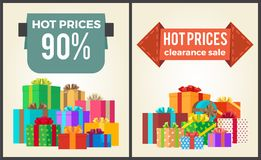 Hot Prices Total Final Sale Discounts Promo Labels. Percent off signs on banners with piles of present boxes in decorative wrapping paper vector set Stock Photos