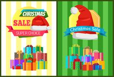 Hot prices xmas sale poster santa claus hat label. Hot prices xmas sale poster santa claus hat on discount label, mountains of gift boxes on striped green yellow Royalty Free Stock Photography