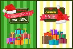 Hot Prices Xmas Sale Poster Santa Claus Hat Label. Hot prices Xmas sale poster Santa Claus hat on discount label, mountains of gift boxes on striped green yellow Royalty Free Stock Photos