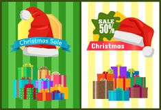 Hot Prices Xmas Sale Poster Santa Claus Hat Label. Hot prices Xmas sale poster Santa Claus hat on discount label, mountains of gift boxes on striped green yellow Royalty Free Stock Images
