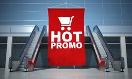 Hot promo advertising flag and escalator Stock Photo