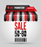 Hot promotion sale poster roof shop. With SALE 50-80 and bar code. Vector illustration Stock Photos