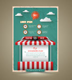 Hot promotion sale poster roof shop vintage style. Royalty Free Stock Images