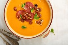 Hot pumpkin soup with beans Royalty Free Stock Photo