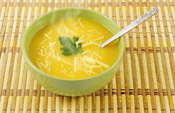 Hot Pumpkin soup in a bowl Royalty Free Stock Photo