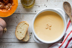 Hot pumpkin soup Stock Photos