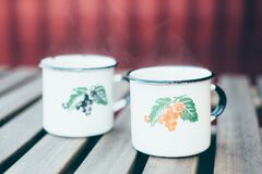 Hot punch in vintage mugs Royalty Free Stock Image