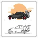 Hot racing car side view stock illustration