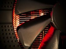 Hot radiator and fan cooling system. Data processing abstract background Stock Photography