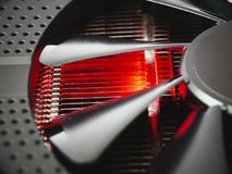 Hot radiator and fan cooling system, data processing. Abstract background Royalty Free Stock Photography