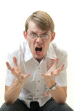 Hot with rage. Man on white background is irritated Stock Photo