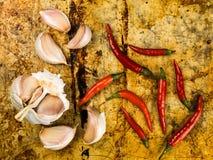 Hot Red Birds Eye Chilli and Fresh Garlic Bulbs Stock Photography