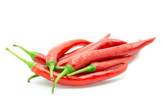 Hot red chili or chilli pepper isolated. Stock Photo