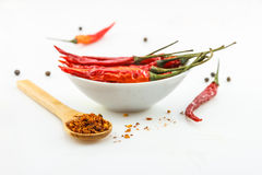 Hot red chili or chilli pepper isolated on white background cuto Royalty Free Stock Photography