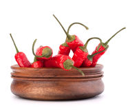 Hot red chili or chilli pepper in wooden bowl Royalty Free Stock Photography