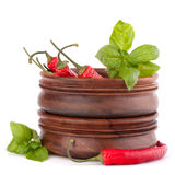 Hot red chili or chilli pepper in wooden bowls stack Royalty Free Stock Photo
